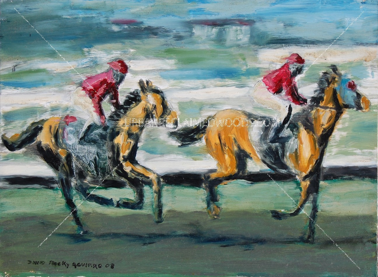"Original Oil painting 16"" x 12"" on hardboard 2008- Del Mar Horse Racing- San Diego"