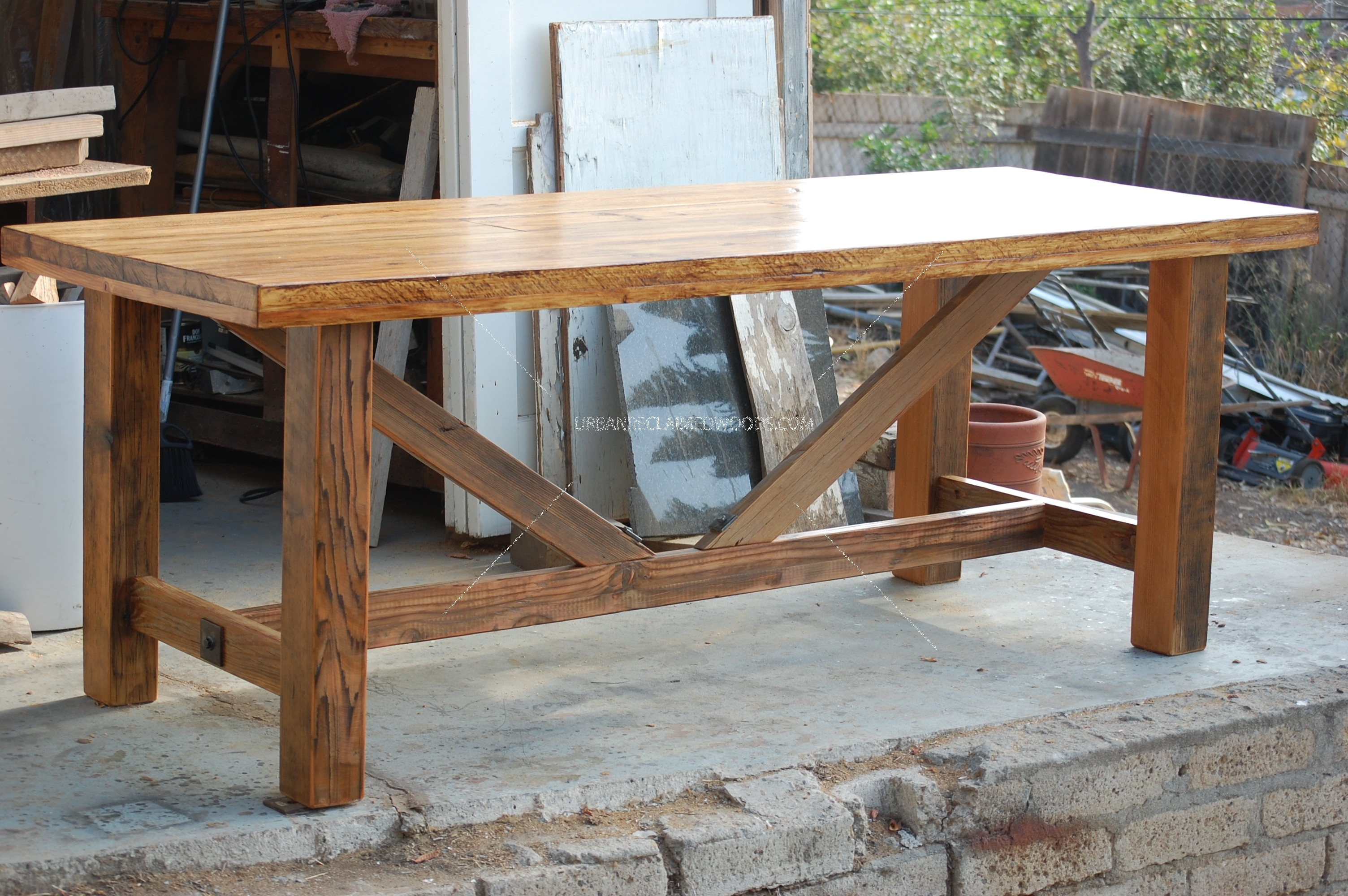 Dining Table 7' reclaimed woods trestle base. #urbanreclaimedwoods