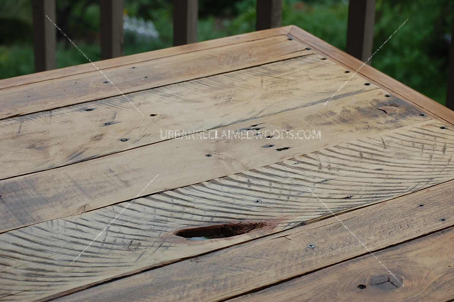 Bekins card table - reclaimed wood inserted into card table-