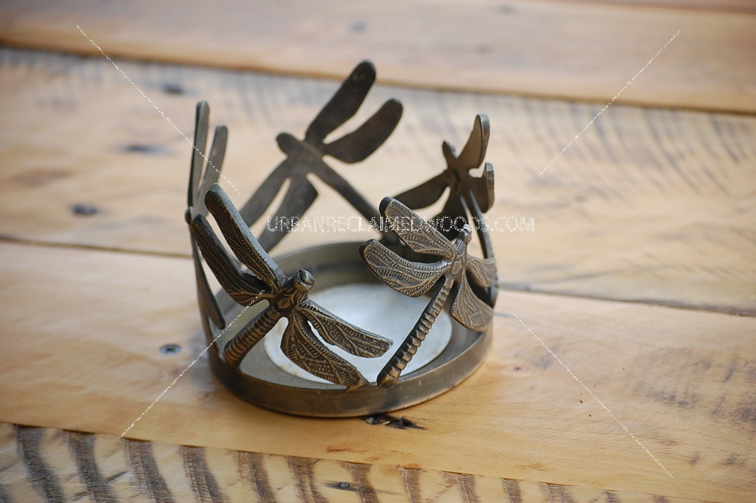 Dragonfly candle holder - metal, pewter color