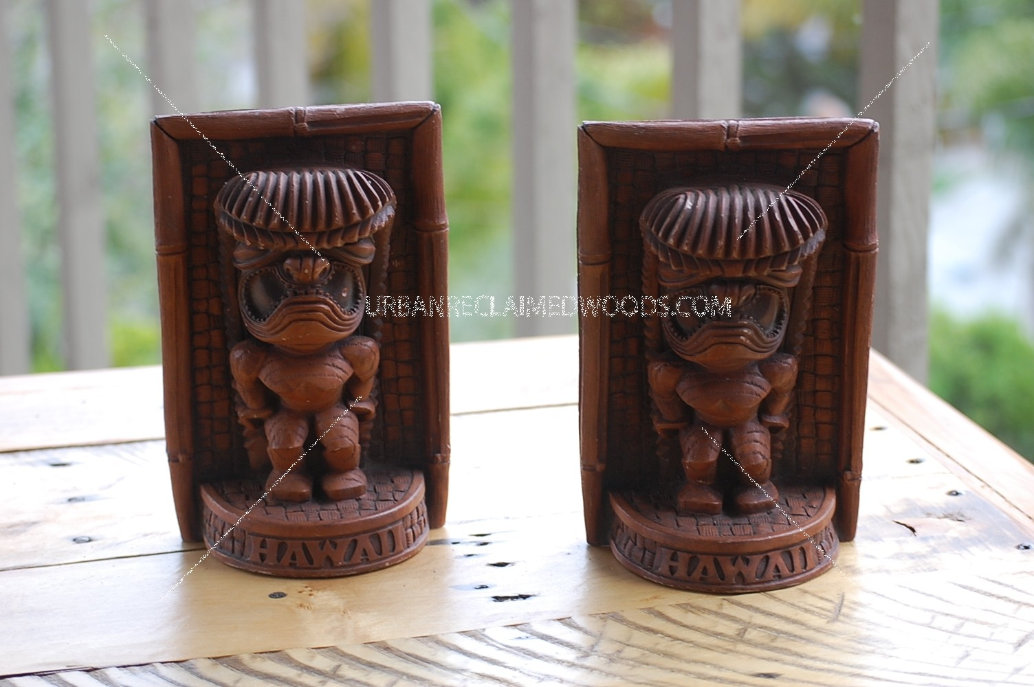 Pair of Hawaiian Bookend Tiki's - Vintage -Ku tiki God
