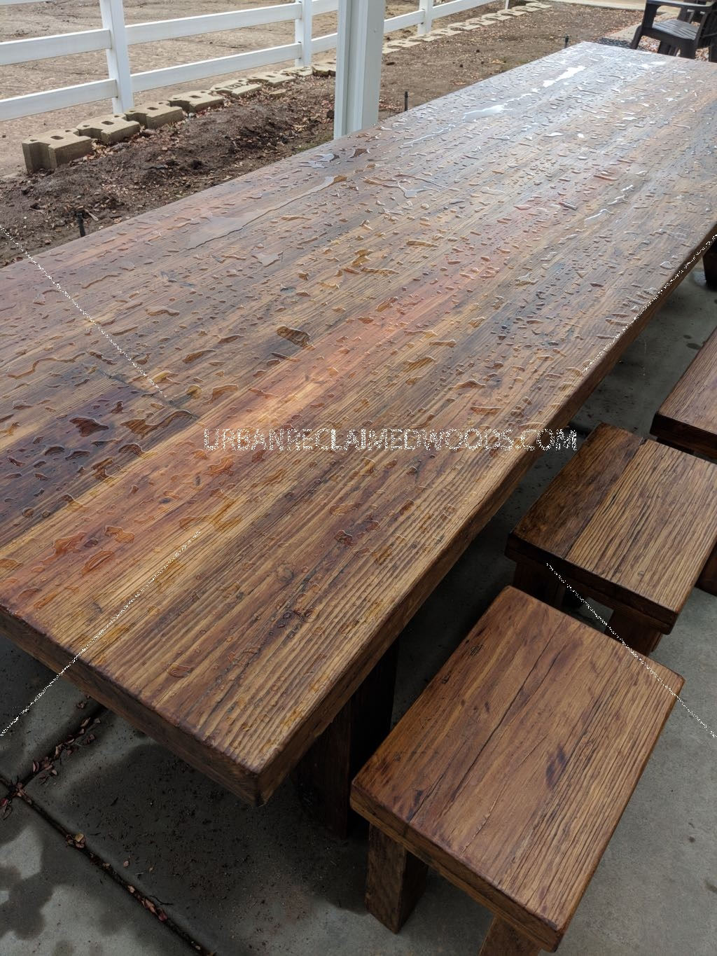 "12' outdoor table. 6"" x 6"" aged cedar legs,"