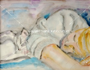 """Original Watercolor painting 11"""" x 14"""" on paper-Comier -Ann with cat"""